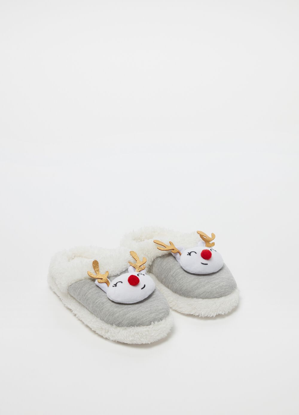 Mélange slippers with Christmas reindeer insert
