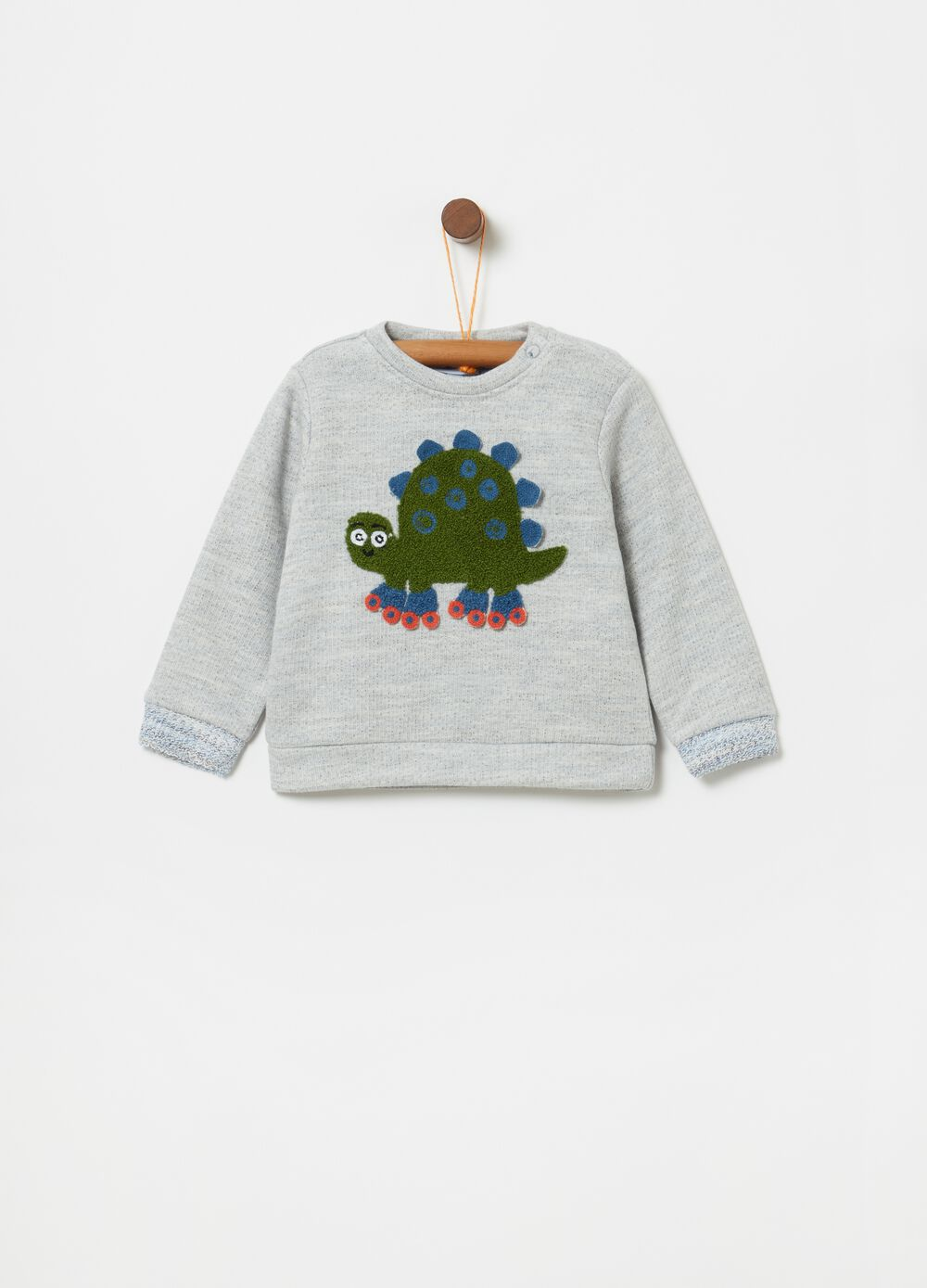 Round-neck sweater with dinosaur application