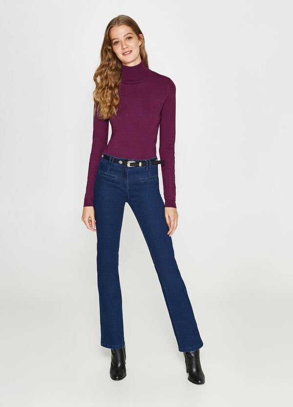 Solid colour viscose blend turtleneck jumper | OVS