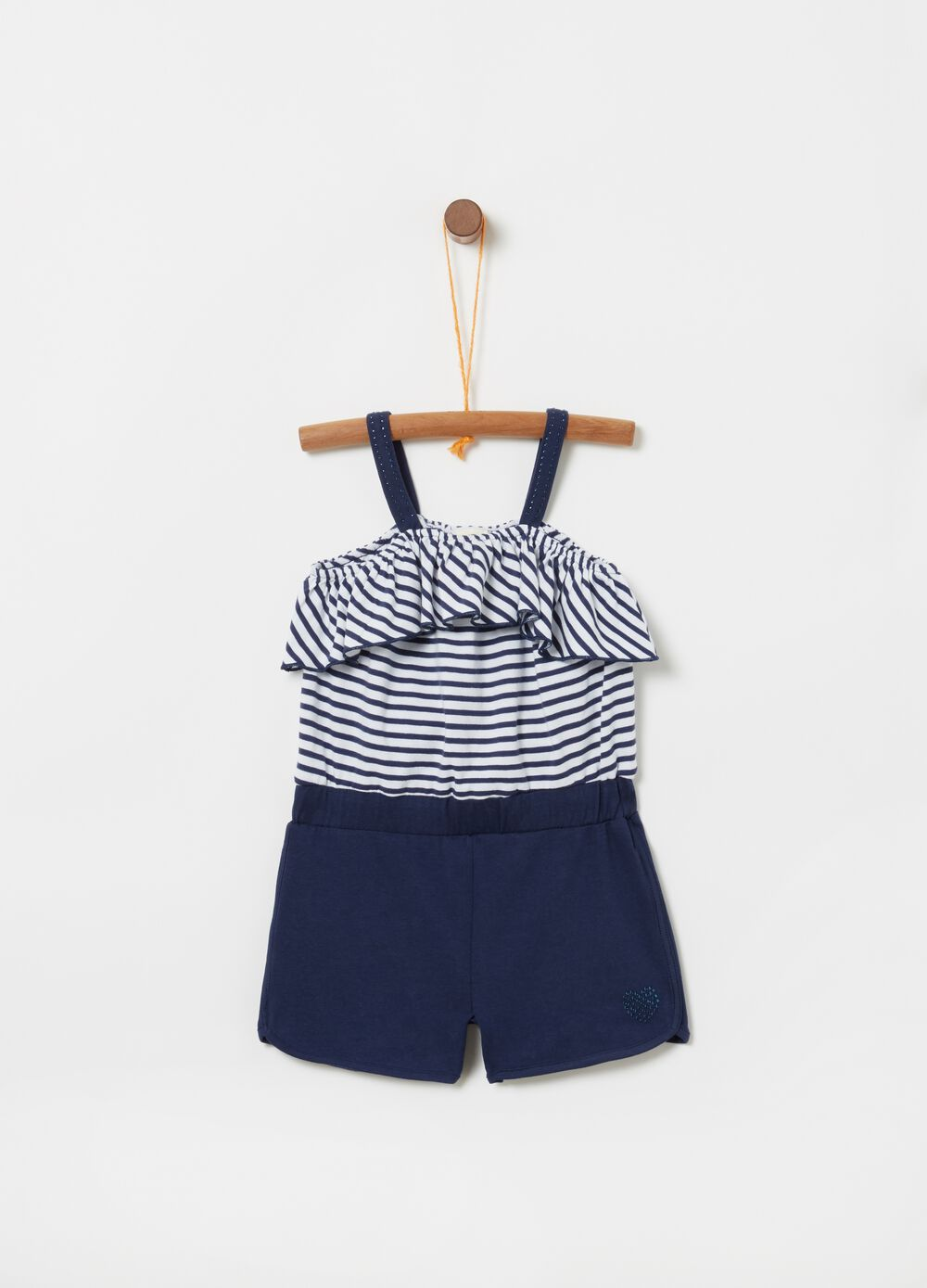 Striped patterned stretch pinafore