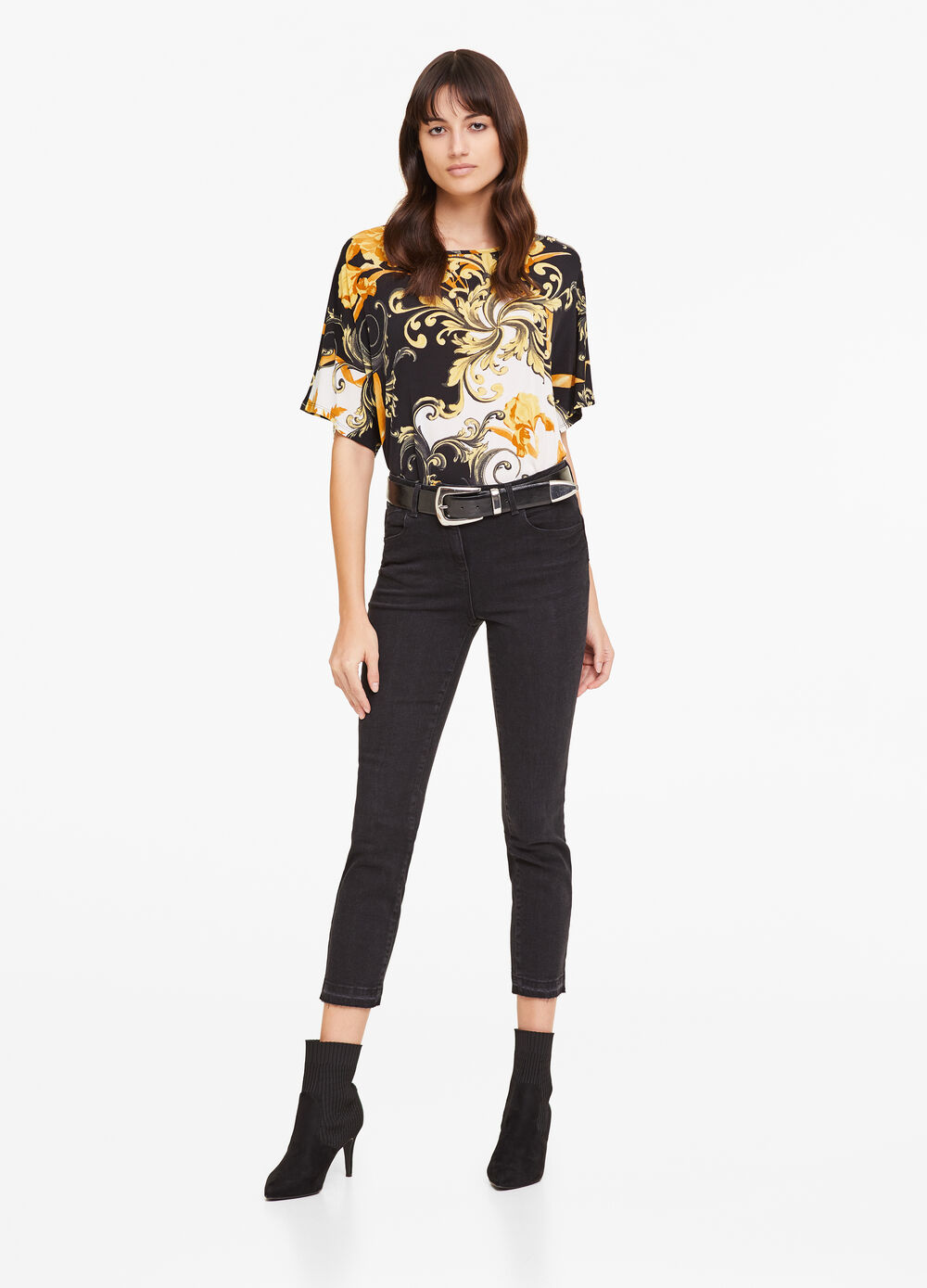 Arabesque floral stretch T-shirt