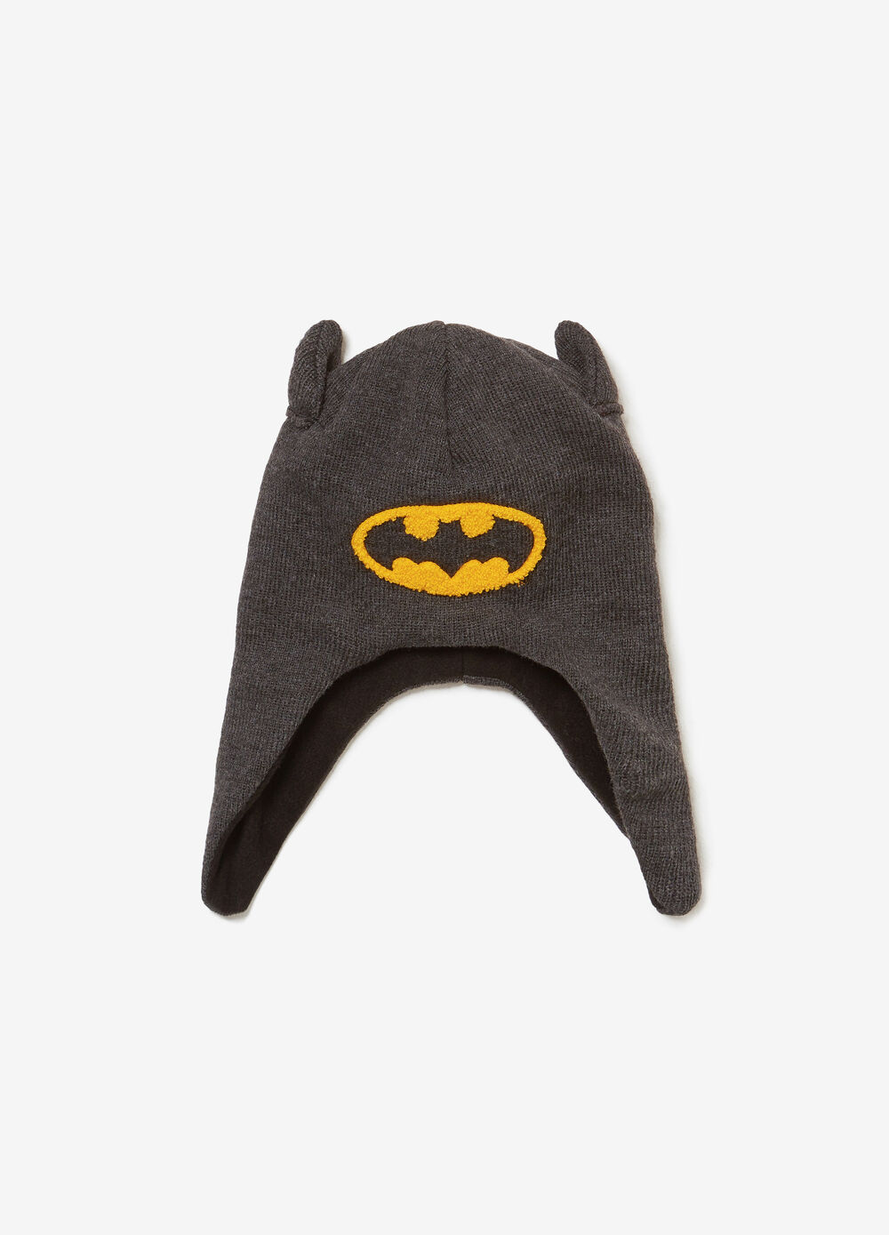 Hat with ear flaps and Batman patch
