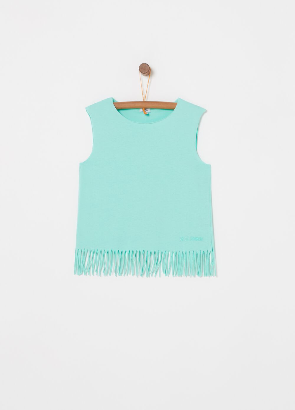 Solid colour cotton top with fringed hem