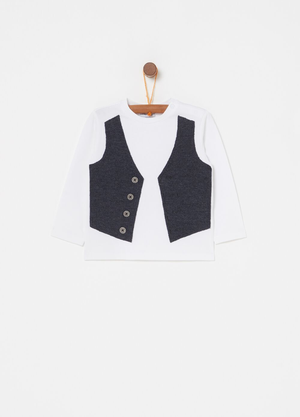 Biocotton T-shirt with hounds' tooth gilet