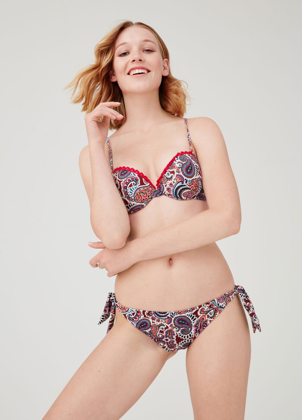 Stretch push-up swim briefs with paisley print