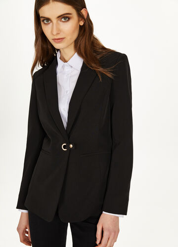 Elegant stretch jacket with eyelets