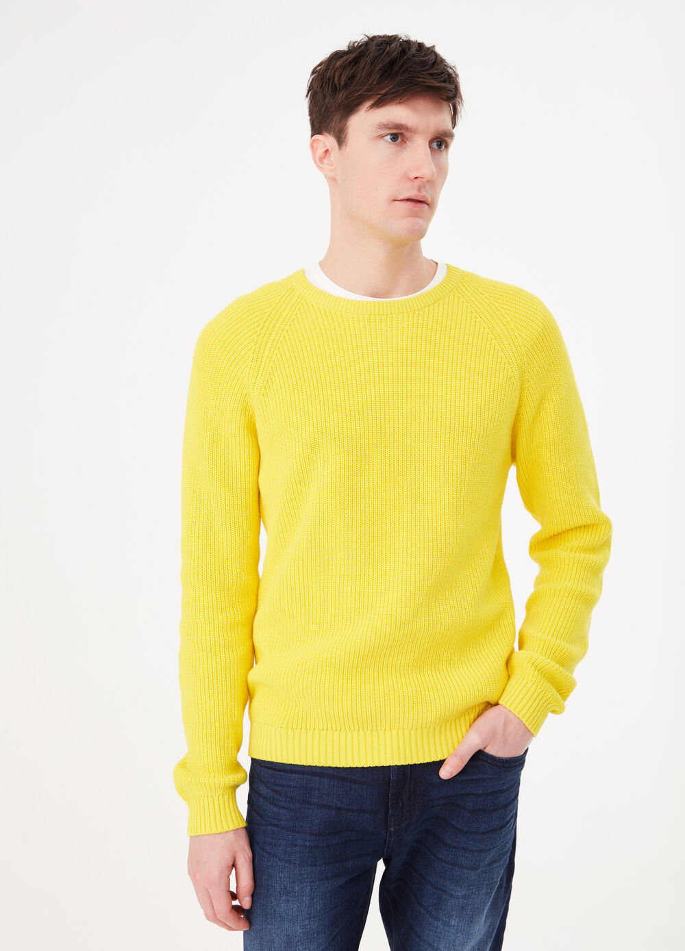 Knitted pullover in 100% cotton with striped weave