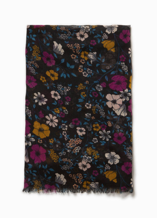Floral scarf with fringed trim | OVS
