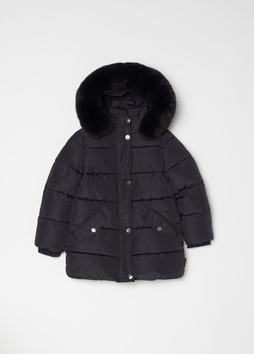 Quilted jacket with hood and pockets