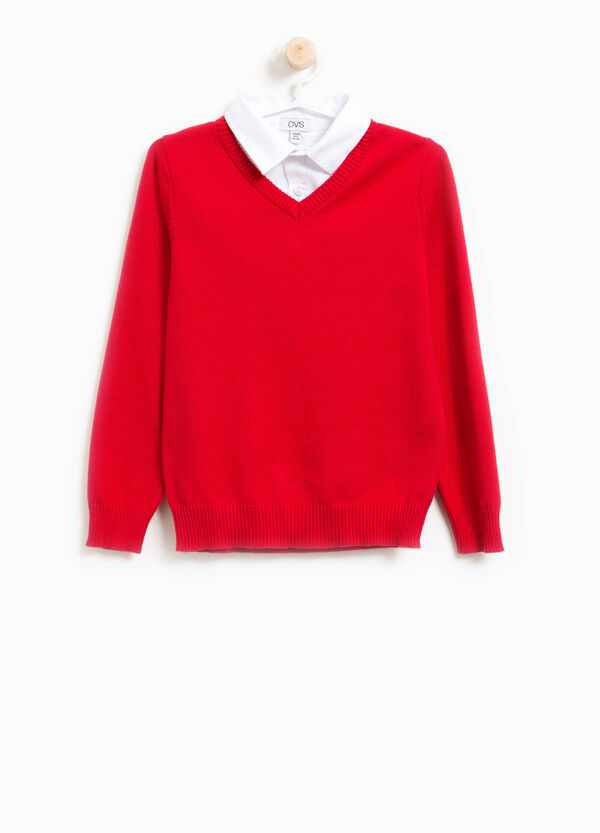 Pullover with faux layered collar | OVS
