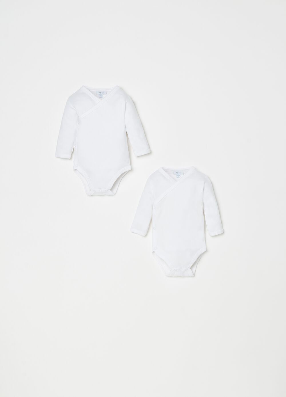 Two-pack 100% cotton bodysuit with long sleeves