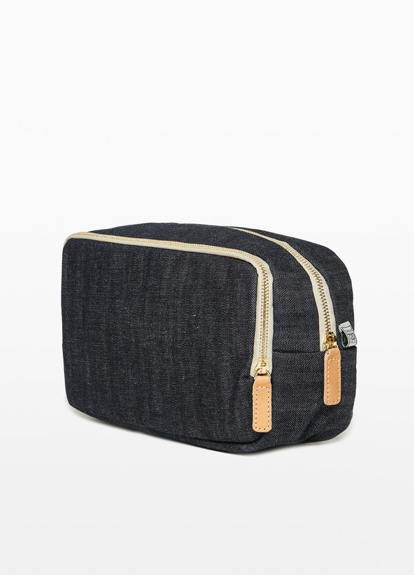 Cotton beauty case with zip