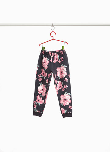 Stretch cotton floral trousers