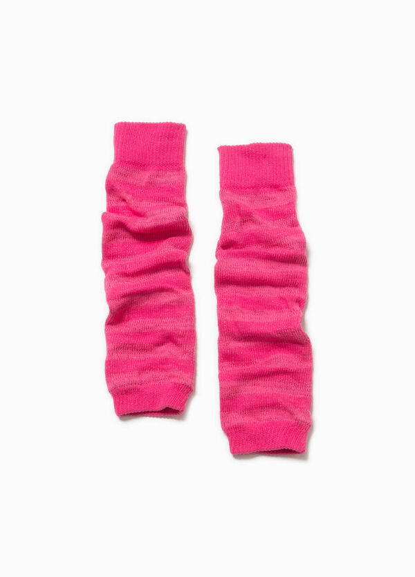 Cotton blend leg warmers with lurex