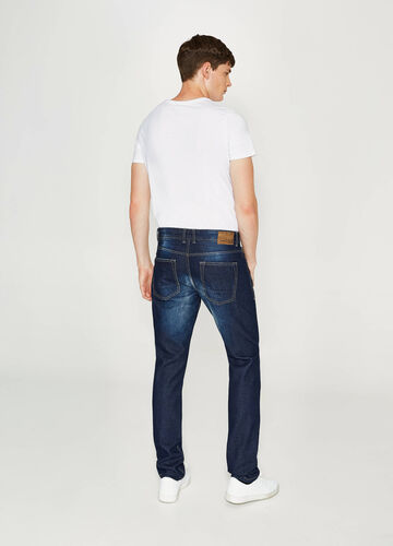 Faded-effect straight-fit jeans