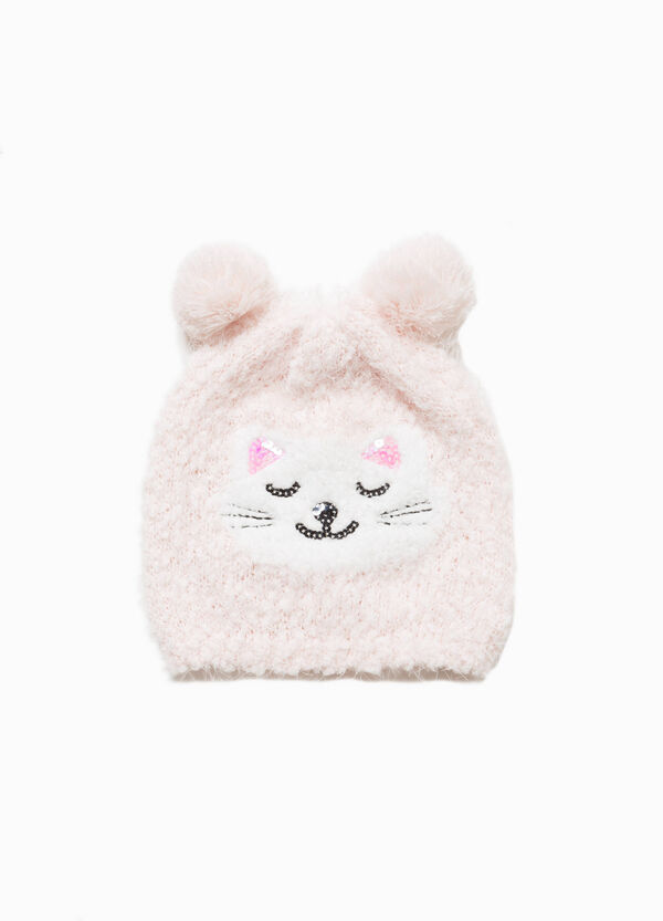 Knitted beanie cap with pompom ears | OVS