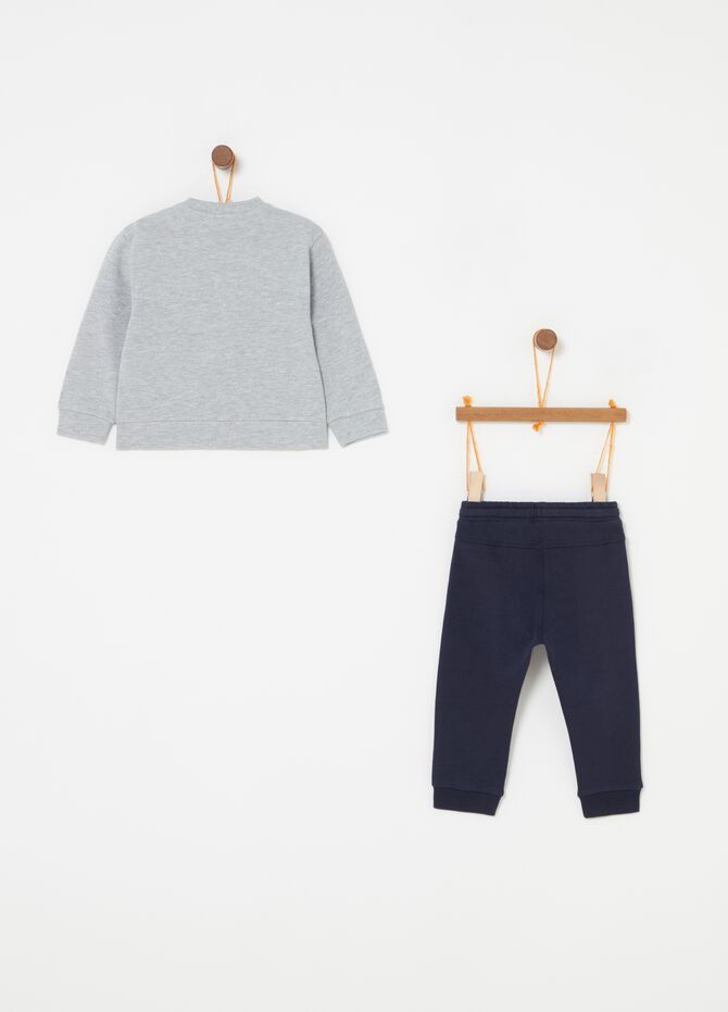 Cotton jogging set with sweatshirt and trousers with print