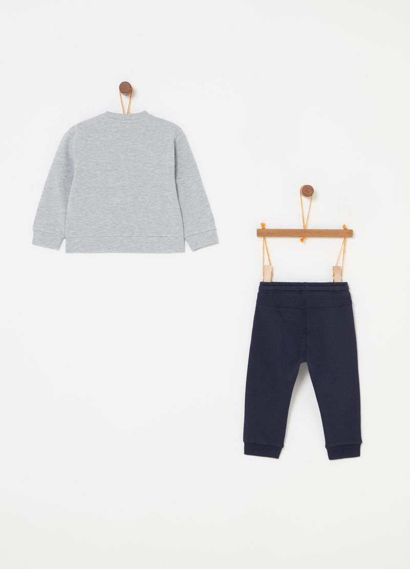 Cotton jogging set with sweatshirt and trousers with print image number null