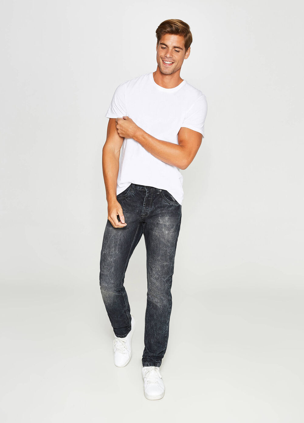 Misdyed-effect slim-fit jeans with discolouring