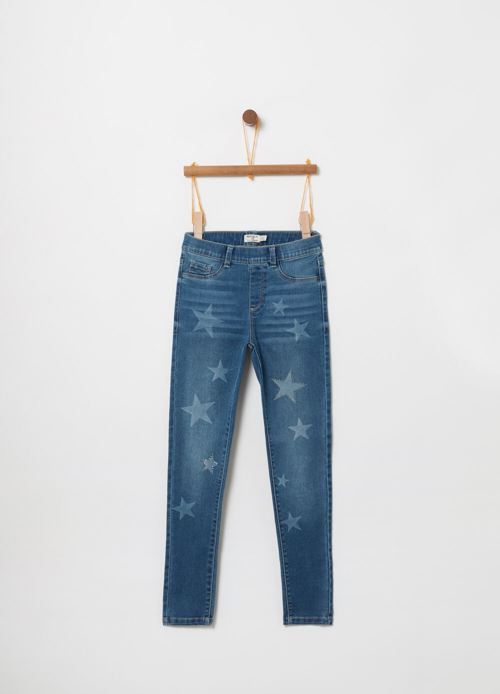 Stretch jeggings with star print