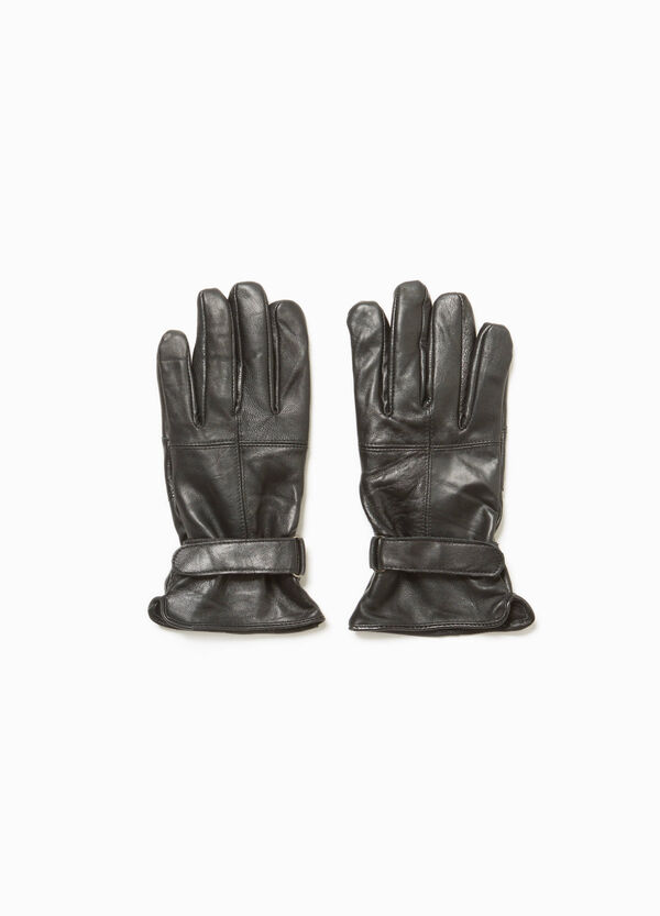 Genuine leather gloves with adjustable strap | OVS