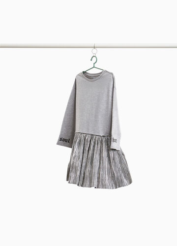 Cotton dress with pleated skirt