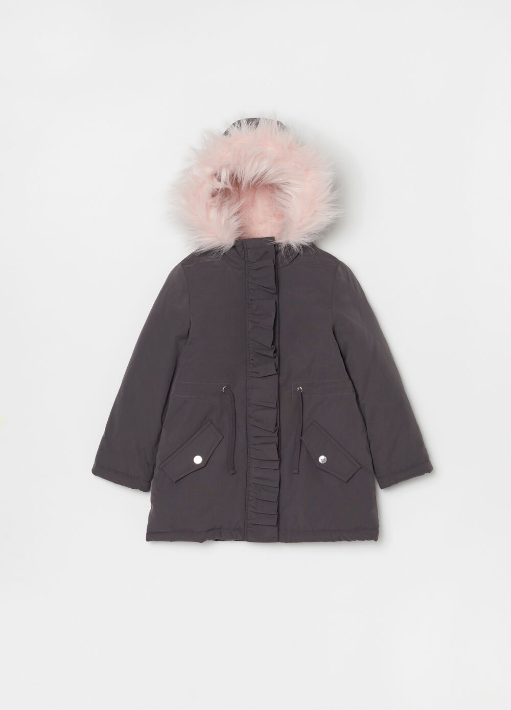 Parka with fur and drawstring
