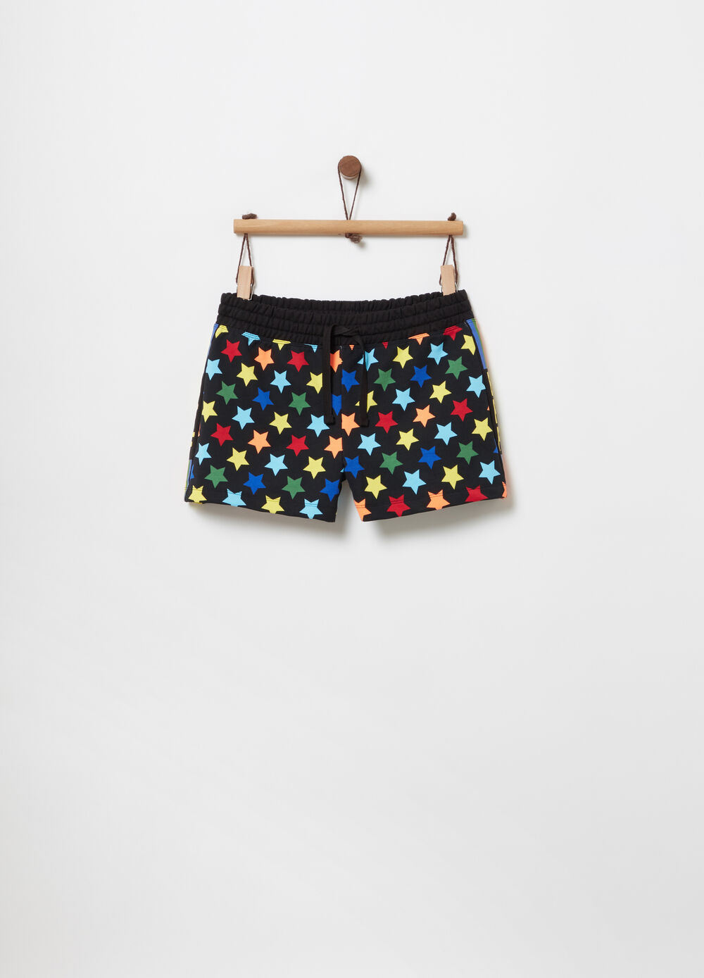 Shorts in French Terry con stampa stelline