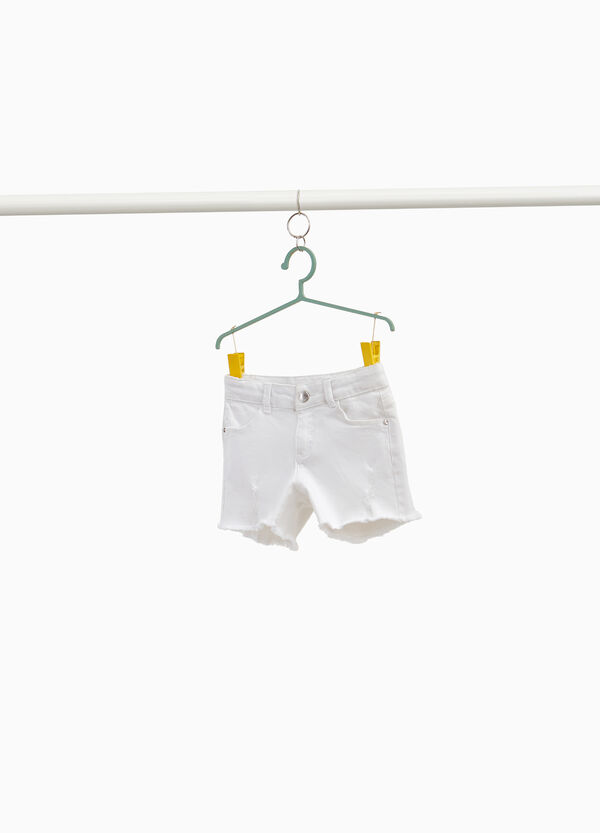 Used-effect stretch cotton shorts with studs