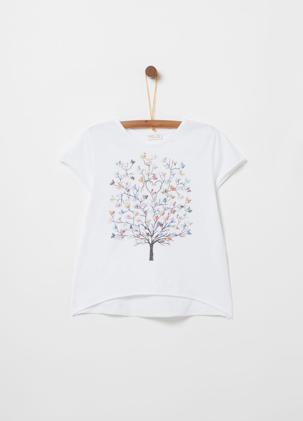 100% cotton T-shirt with tree print and diamantés