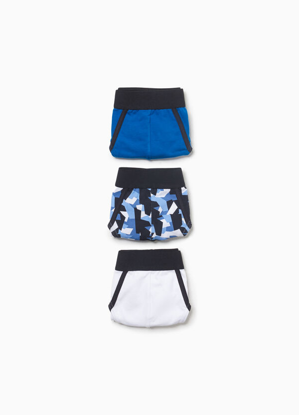 Three-pack patterned and solid colour stretch cotton briefs