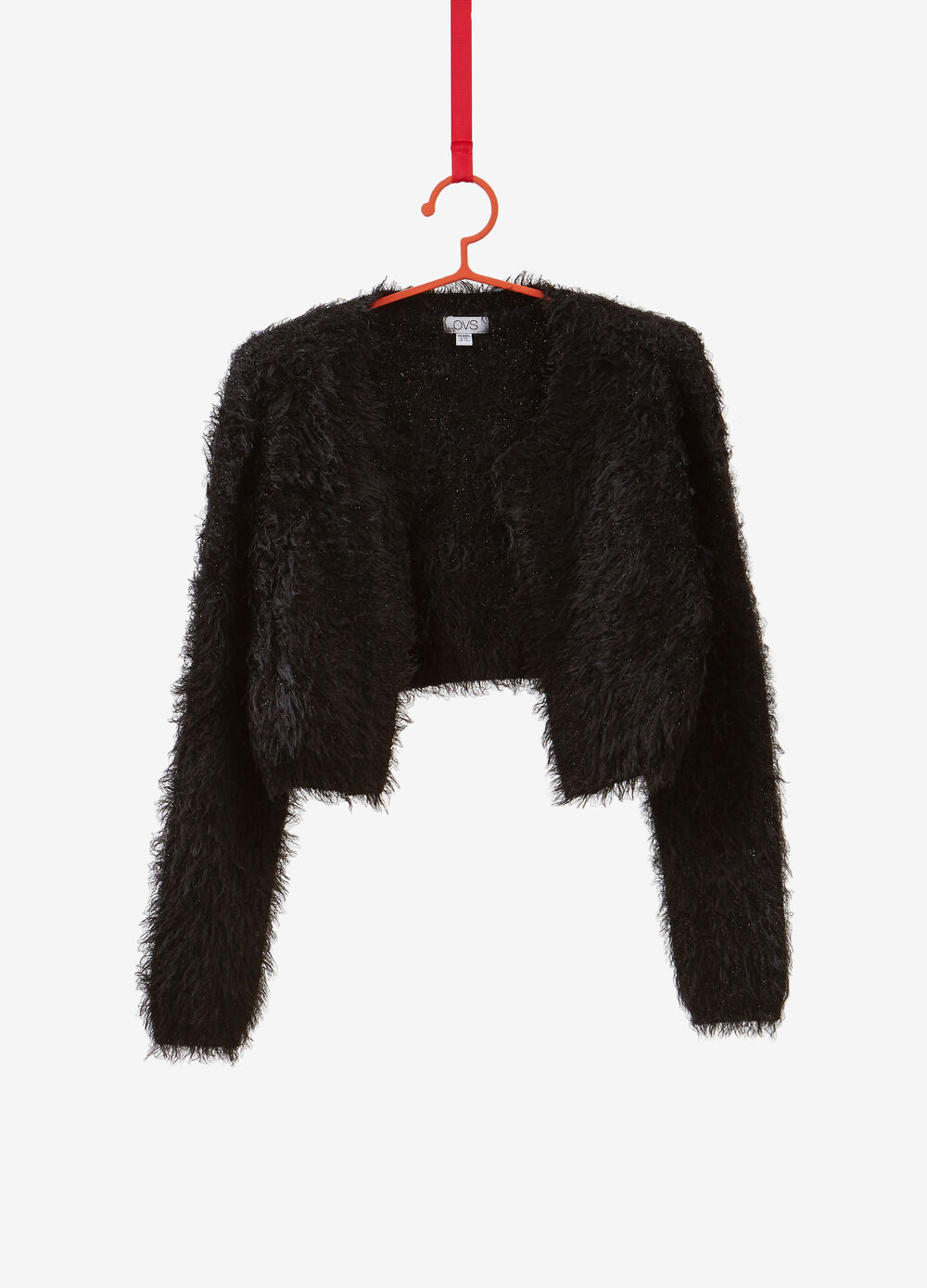 Crop cardigan with knitted lurex