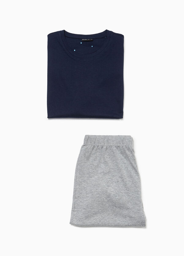 Cotton blend pyjamas consisting of top and shorts
