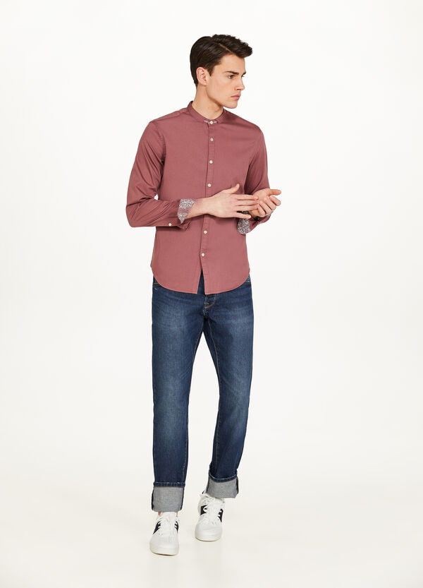 Casual shirt in 100% cotton with Mandarin collar