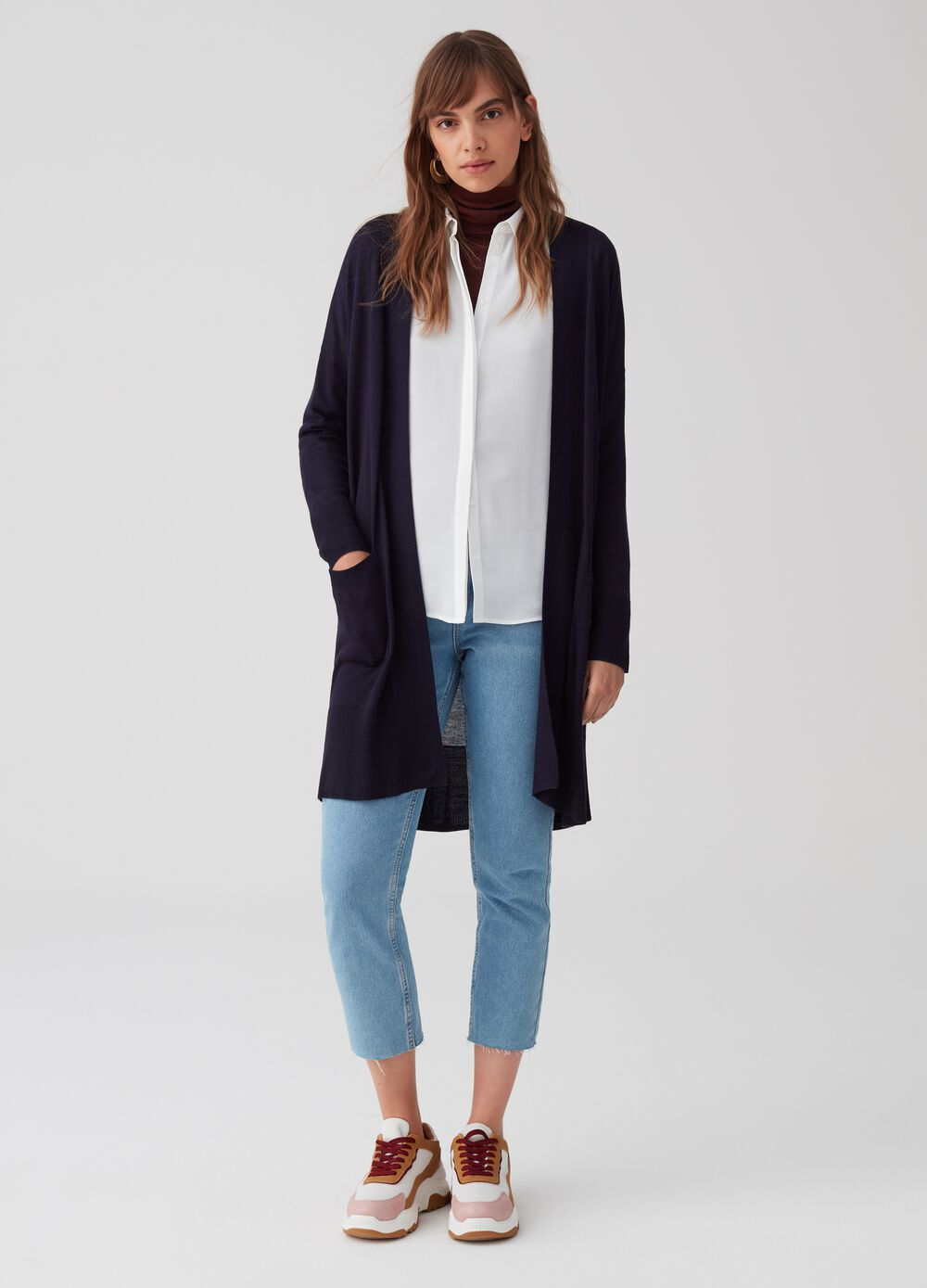 Long open knitted cardigan