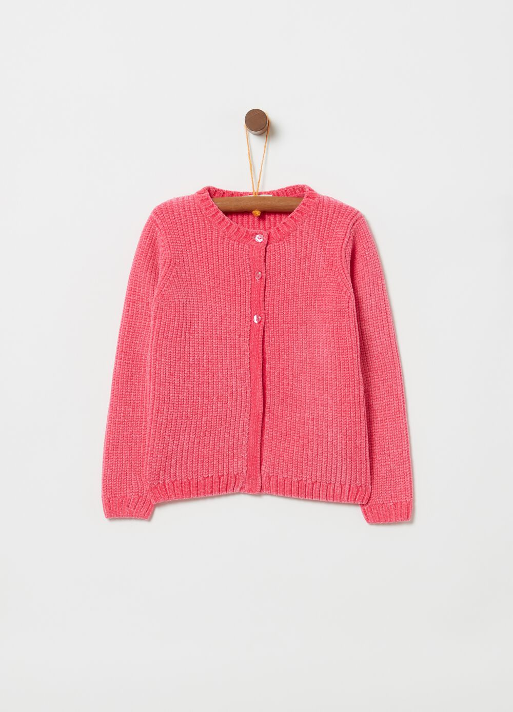 Knitted chenille cardigan with buttons