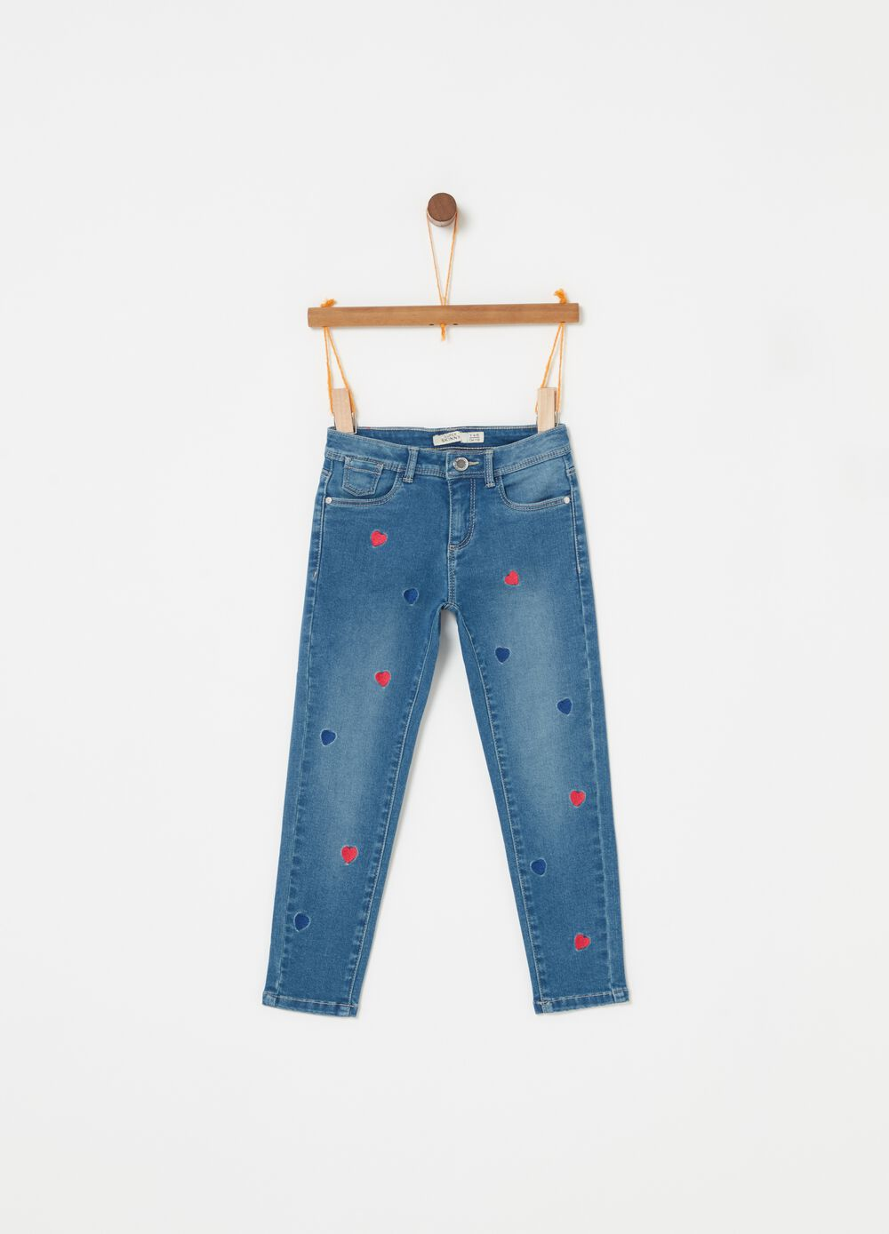 Vintage-effect skinny-fit jeans with embroidery