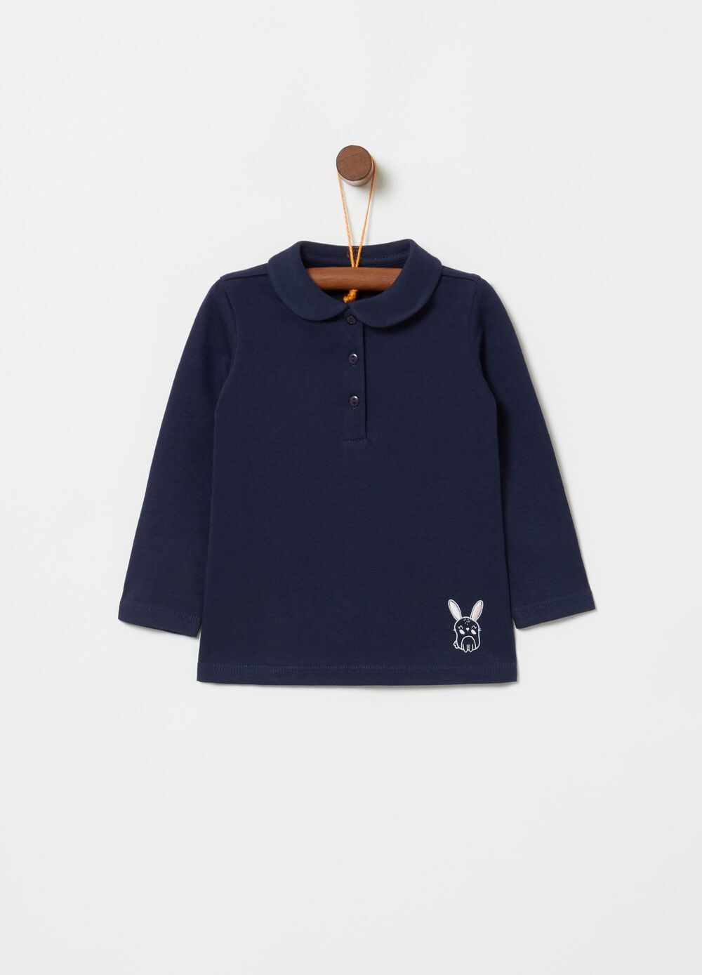 100% cotton polo shirt with rabbit print