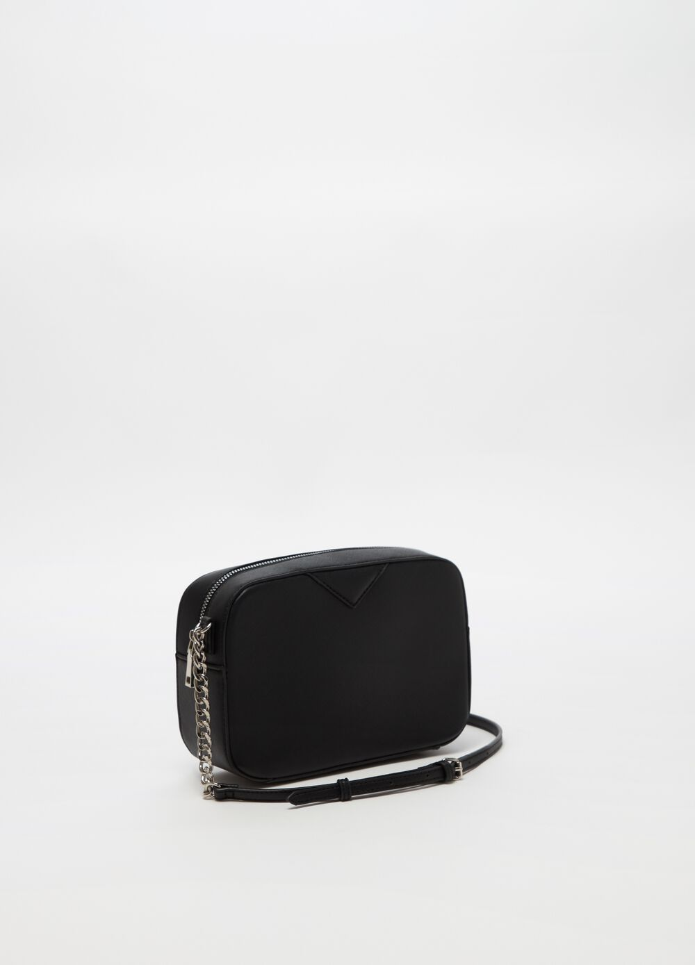 Saffiano-effect shoulder bag with chain