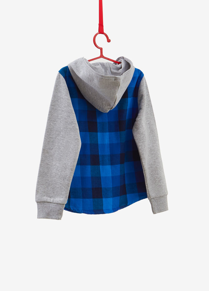 Checked shirt with hood and zip