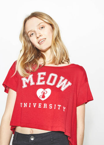 Crop T-shirt with contrasting print
