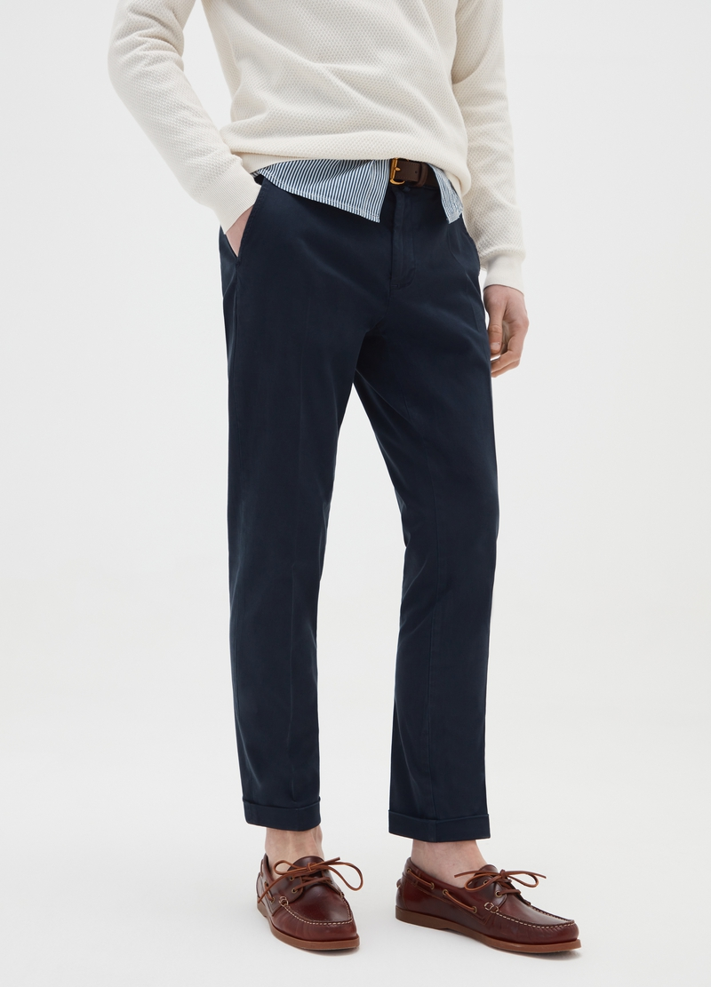 PIOMBO cotton dobby trousers image number null