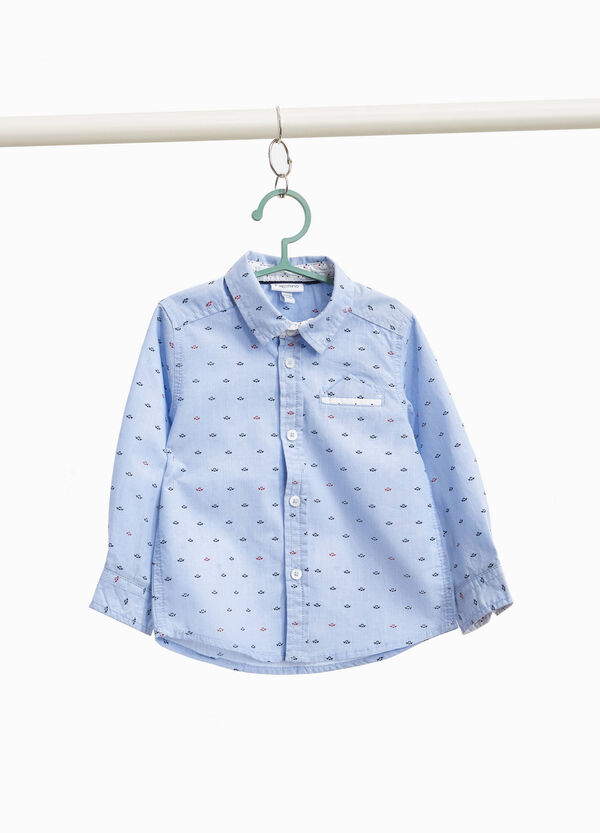 100% cotton shirt with boats pattern