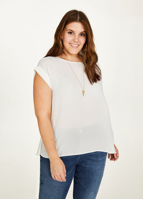Curvy stretch blouse with cap sleeves