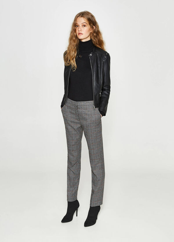 Stretch trousers with tartan pattern | OVS