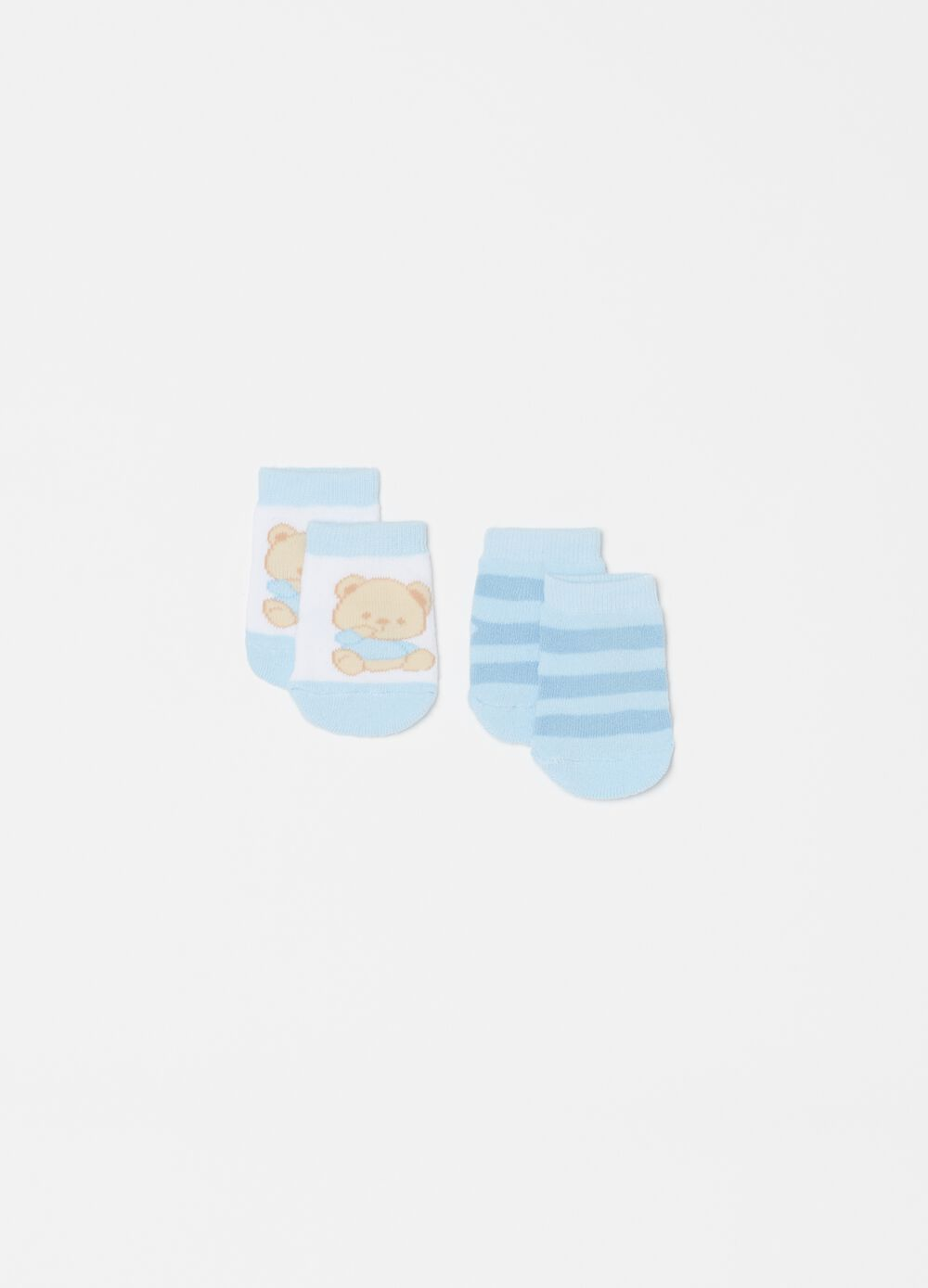 Two-pair pack short socks with print and pattern