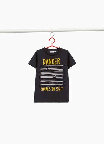 Cotton T-shirt with lettering and striped print
