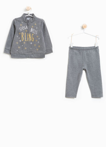 Tracksuit in 100% cotton with glitter lettering print