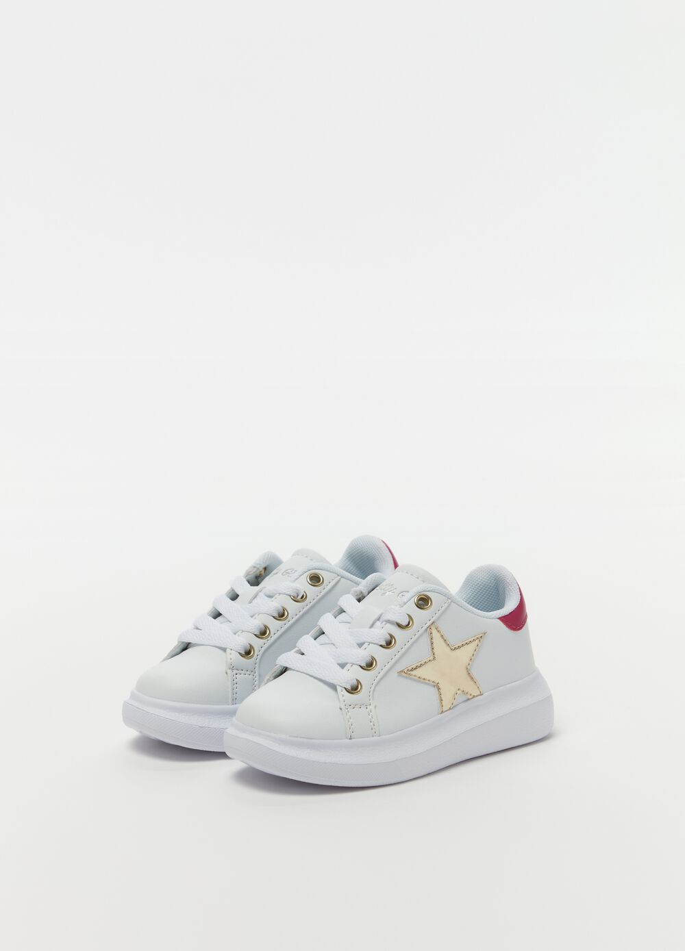 Sneakers with glitter star embroidery