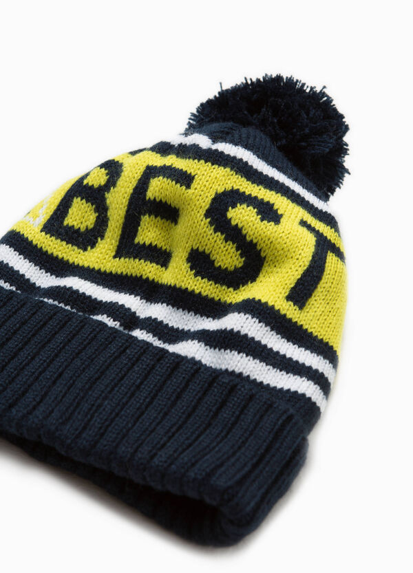 Beanie cap with pompoms and stripes | OVS